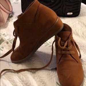 Franco Sarto Brown Suede lace up 1/2 inch heel